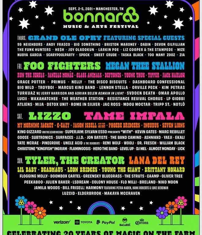 Foo Fighters, Deftones, Run The Jewels si mulți alți artiști anunțați pentru festivalul Bonnaroo 2021